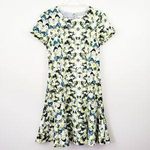 J. Crew   Yellow Floral Print Flare Midi Dress